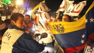 Opposition supporters celebrate victory in the 2007 referendum in giving President Chavez more power