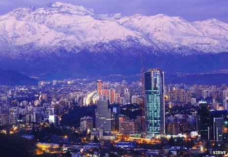 Titanium tower in Santiago