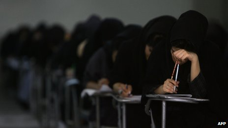 A university entrance exam at a high school in Tehran, June 2009