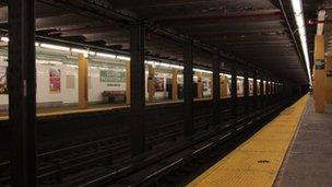 Empty New York subway station