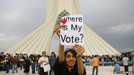 A woman protests after a heavily disputed Presidential election in June 2009 in Tehran's Azadi Square