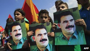 Kurdish children in Lebanon hold portraits of jailed PKK leader Abdullah Ocalan