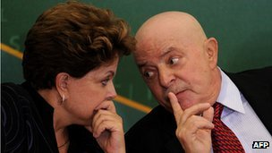 President Dilma Rousseff and ex-president Lula at a ceremony in Brasilia in January 2012