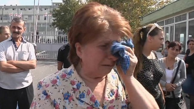 Mother of prisoner crying