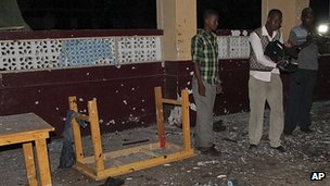 Debris in Village restaurant after bombing, 20 Sep 12