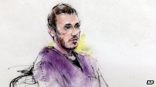 This courtroom sketch of James Holmes in district court in Centennial, Colorado 20 September 2012