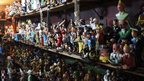 Hundreds of statutes of Tintin characters in a storeroom in Kinshasa, DR Congo