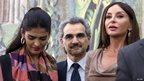 Saudi billionaire Prince Waleed bin Talal (C), his wife Princess Amira al-Taweel (L) and Azerbaijan&#039;s first lady, Mehriban Aliyeva, visit the Louvre&#039;s new Islamic art wing, 18 September