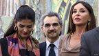 Saudi billionaire Prince Waleed bin Talal (C), his wife Princess Amira al-Taweel (L) and Azerbaijan's first lady, Mehriban Aliyeva, visit the Louvre's new Islamic art wing, 18 September