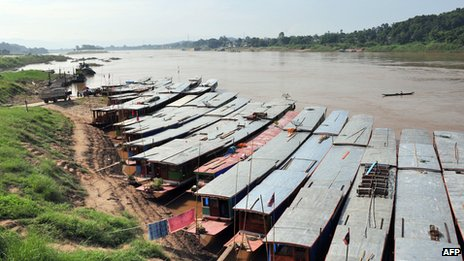 Boats lined up at the Huay Xay pier on the Mekong river on the Lao side of the Laos-Thailand border (file photo)