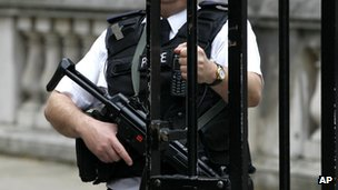 Armed officer at Downing Street gate