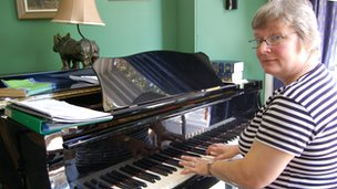 Pamela Greener at her piano