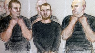 Court drawing of Dale Cregan at Manchester Magistrates&#039; Court 
