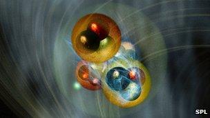 Magnified helium atom