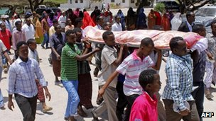 People attend the funeral of one of those killed in the Village restaurant bombing - 21 September 2012