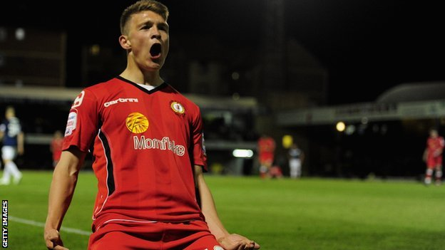 Max Clayton in action for Crewe