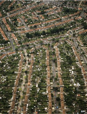 Aerial view of suburban houses (Image: Science Photo Library)