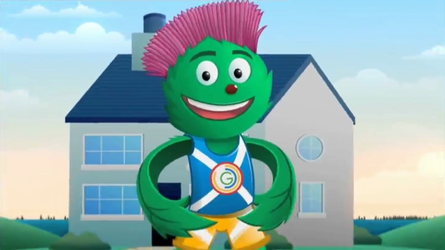 The new Commonwealth Games mascot, Clyde, Thistle man
