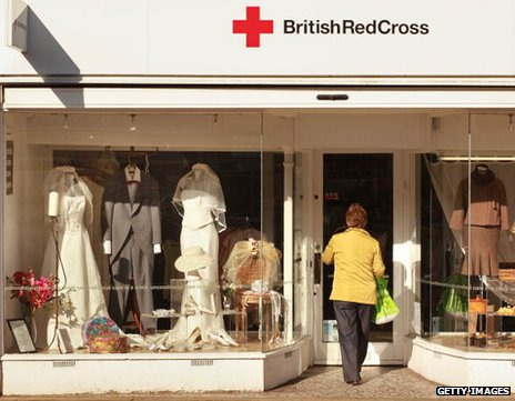 British Red Cross charity shop that specialises in wedding gear