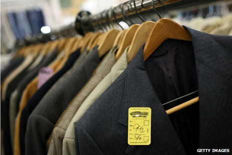 Charity shop jackets with yellow tag