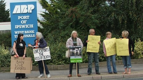 Protesters at the Port of Ipswich