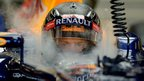 Sebastian Vettel of Germany sits in his Formula One race car during the first practice session of Singapore&#039;s Formula One night race
