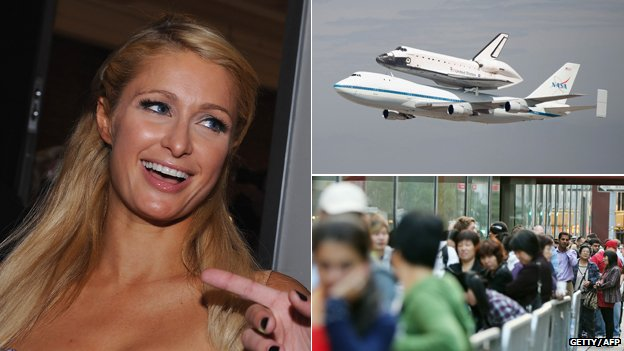 Paris Hilton, the space shuttle and people in line for the iPhone 5
