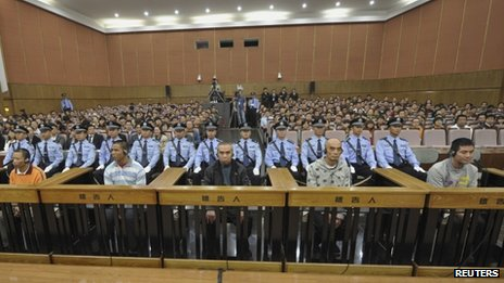 The defendants on trial in Kunming, 20 September