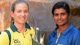 Captains Jodie Fields (Australia) and Shashikala Siriwardene (Sri Lanka) with the trophy