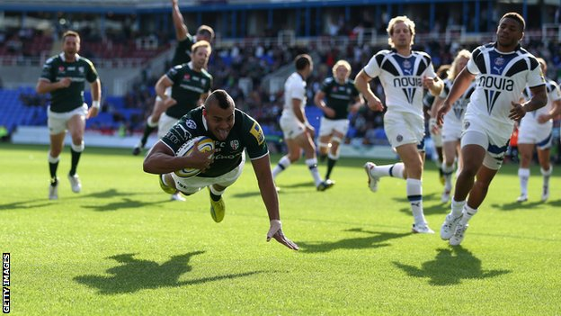 Jonathan Joseph scores a try for London Irish