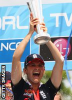 Charlotte Edwards lifts the World Twenty20 trophy at Lord's in 2009