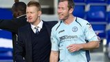 St Johnstone manager Steve Lomas (left) and winning goal-scorer Frazer Wright