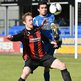 Timmy Adamson of Crusaders was up against his old club Dungannon Swifts and defender Emmett Friars at Stangmore Park