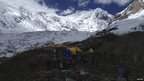 Rescuers on Mount Manaslu after the avalanche, 23 September