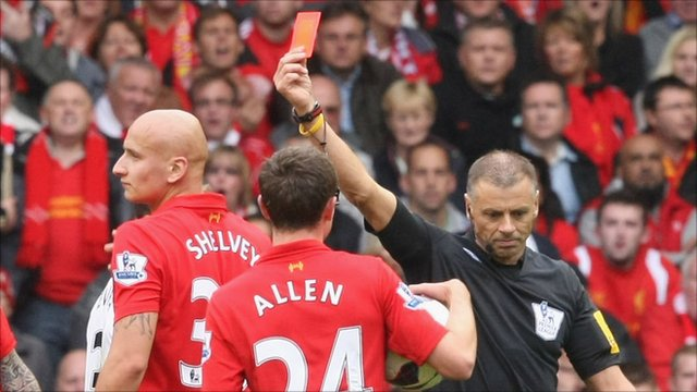 Jonjo Shelvey is shown a red card