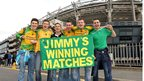Donegal fans at Croke Park hold a banner with the name of the song which became an internet hit ahead of the final