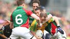 Mayo trio Donal Vaughan, Alan Dillon and Enda Varley make sure there is no escape for Anthony Thompson