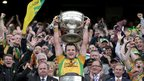 Donegal captain Michael Murphy lifts the Sam Maguire Cup after the 2-11 to 0-13 triumph over Mayo