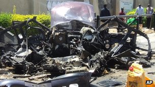 Wreckage of car outside church in Bauchi. 23 Sept 2012