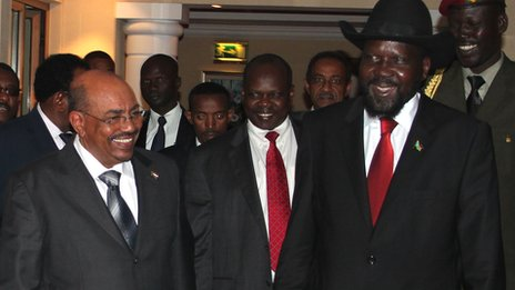 Sudan's President Omar al-Bashir, left, and South Sudan counterpart Salva Kiir, right. 23 Sept 2012