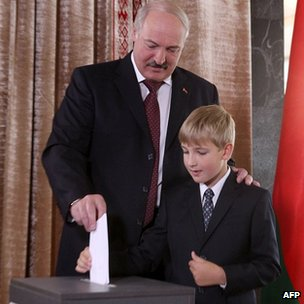 President Lukashenko and son Nikolai at a polling station in Minsk. 23 Sept 2012