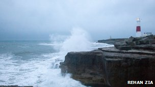 Waves strike the coast where the Portland Bill Lighthouse in Dorset. Picture 23/09/2012 : Rehan Zia