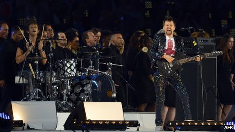 Muse perform during the closing ceremony of the 2012 London Olympic Games at the Olympic stadium in London on 12 August