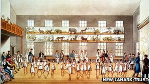 Illustration of the dancing class at New Lanark
