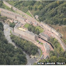 Aerial shot of New Lanark