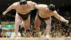 Sumo wrestlers during a fight