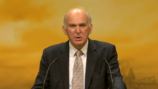 Vince Cable at Liberal Democrat conference