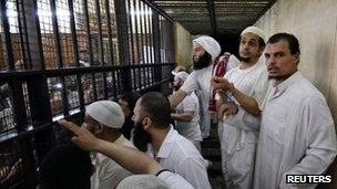 Islamist militants react as they listen to the court verdicts in Ismailia. Photo: 24 September 2012
