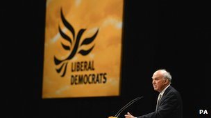 Vince Cable speaking to the Lib Dem conference
