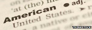 Close-up of the word &quot;American&quot; in a dictionary 